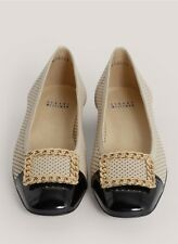 STUART WEITZMAN CHAINOLO LEATHER FLATS BLACK BEIGE US10 Uk7