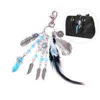 Shell Dreamcatcher Tassel Key Ring Car Bag Mini Charm Feather keychain Women-NQA