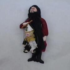 Vintage Boalt 1988 Bearded Man w Marionette Handmade Signed Ornament Free S&H Ah