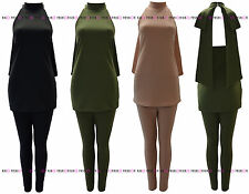 WOMENS LADIES TWO PIECE HALTERNECK BACKLESS BOW BACK TOP TROUSER SUIT DRESS 8-14