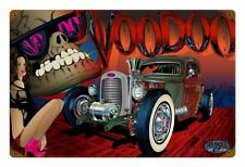 Muscle Car Hot Rat Rod Voodoo Skull Pin Up Comic Retro Sign Blechschild Schild