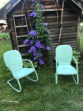 Vintage Antique Metal Bouncy Outdoor Chairs Rare Set Of Two, A Flat And A Rocker