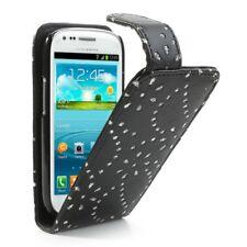 Samsung Galaxy S3 Mini Handy Tasche Innenfach Bling Magnet Cover Strass Schwarz