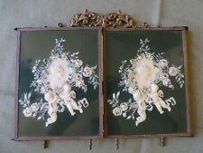 New ListingAntique Victorian Celluloid Tri Folding Shaving Mirror Green Panels Cherubs Rare