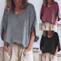 ZANZEA 8-24 Women Summer Plain Solid Basic Tee T Shirt Top Loose Pullover Blouse