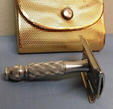 1971 S1 Gillette Aluminum Travel Tech Vintage Double Edge Safety Razor w/ Case