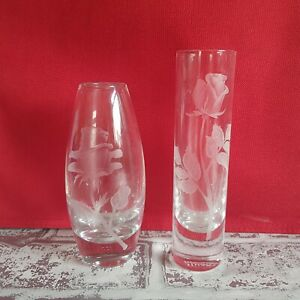 Two Small Etched Glass bud Vases.  Retro vase.