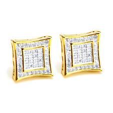 Screw Back Stud Earrings Be 002 Tt Men's 14K Gold Plated Square Kite 2 Toned