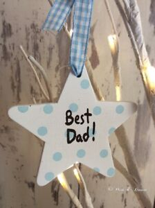 Best Dad Wooden Star Heaven Sends Fathers Day Gift