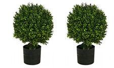 "2 ARTIFICIAL 20"" OUTDOOR UV BOXWOOD TOPIARY TREE PLANT BUSH BALL POT PORCH PATIO"