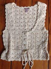 H&M Crochet Lace Cotton Cream White button Scoop Neck Vest Blouse Top US 4 EU 34
