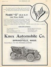 BIG 1906 KNOX WATERLESS MODEL G 25-30 MOTOR CAR AD SPRINGFIELD MA MASSACHUSETTS