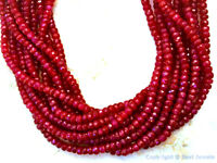 "RUBY 4-4.5mm (25 Loose Faceted Rondelle) Gemstone Beads 16Ctw Grade ""A"""