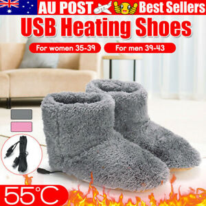 Unisex Heated Slippers Rechargeable Warming Footies Winter USB Warmer Foot Shoes