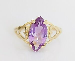 Vintage 1992 9ct Yellow Gold & Marquise Amethyst Solitaire Engagement Ring UK O