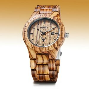 LeeEv Light Weight Natural Zebra Wood Watch for Men Quartz Men's Wooden Watch