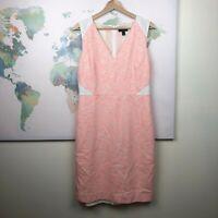 J Crew Sleeveless Tweed and Eyelet Dress Size 10 Orange White Sheath READ