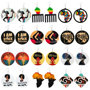 12 Pairs set African Woman Afro Wooden Earrings Africa Ethnic Tribal Jewellery