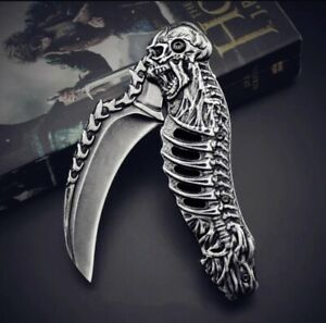 High Quality Stonewashed Skull Engraved Camping Folding Knife Hunting Tactical