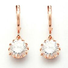 Occasion Jewelry Rose Gold Plated Clear Round Cubic Zircon Drop/Dangle Earrings