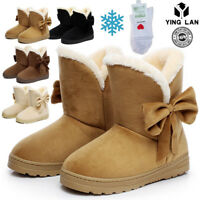 Women's Winter Suede Ankle Snow Boots Fur Thicken Ski Flats Casual Shoes Beige