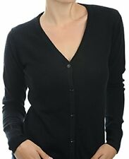 Balldiri 100% Cashmere Damen Strickjacke V-Ausschnitt 2-fädig schwarz XS