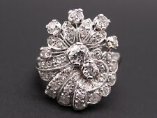 Vintage Palladium 2ct Round European Cut Diamond Filigree Band Ring Size 7.5