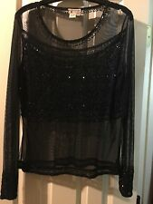 Reflections Spiegel Black Blouse Sequins See Through Beaded Size 14