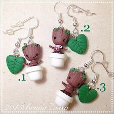 Orecchini Groot ~ Cute Chibi Marvel Earrings Giardiani della Galassia Fimo Clay