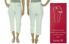 ALFANI $69 NEW White Flat Front Curvy Fit Zip-Pocket Capri Pants 16 L23 QCO