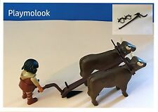 ANTIQUE PLOW MEDIEVAL CUSTOM NATIVITY SCENE FIGURES OXEN AND PLAYMOBIL DOESN'T