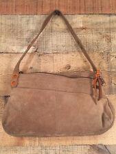 Women's Roxy Small Hobo Bag Beige Suede 2 Zip & 1 Magnetic Snap Compartments