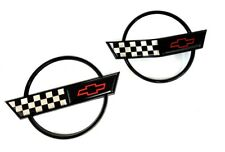 1991-1996 C4 Corvette Hood Nose and Fuel Gas Door Lid Emblems Black Ring