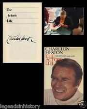 CHARLTON HESTON Autographed Signed Book THE ACTOR'S LIFE Academy Award Oscar