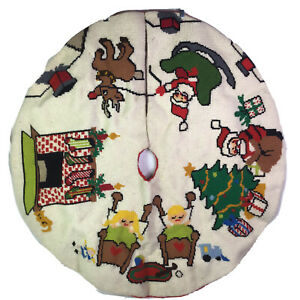 """Vintage Unique NIGHT BEFORE CHRISTMAS STORY Tree Skirt Wool Needlepoint 42"""" Dia"""