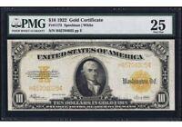 1922 $10 Ten Dollars U.S. Gold Certificate Large Size Bank Note (PMG 25)