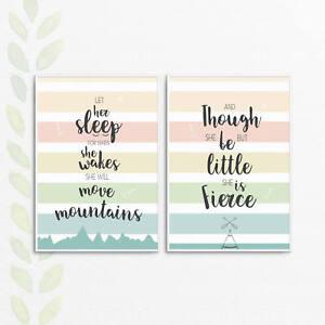 Newborn Baby Girls Room Nursery Wall Art Shakespeare quotes A4 A3 Print Set