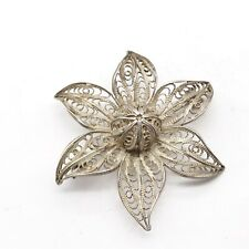 Flower Head Ladies Brooch Vintage Solid Silver Filigree