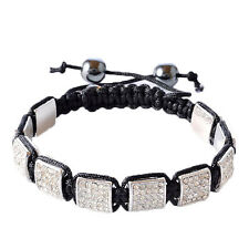White Crystals Black Macrame Beaded Square Bracelet