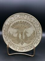 """Vintage India Peacock Hand Chased Heavy Brass Plate, 7 3/4"""" Diameter, 1"""" High"""