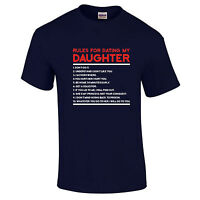 Dating My Daughter Rules Funny Fathers Day Gift Dad Birthday Mens T-Shirt  S-5XL