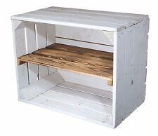 2er-Set weiße Apfelkisten mit geflammten Zwischenboden/ Holzkiste/ Obstkiste/