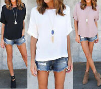 UK 8-24 Womens Short Sleeve T-shirt Summer Casual Loose Tops Tee Shirt Blouse