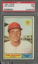 1961 Topps #59 Jim Woods Philadelphia Phillies PSA 7 NM