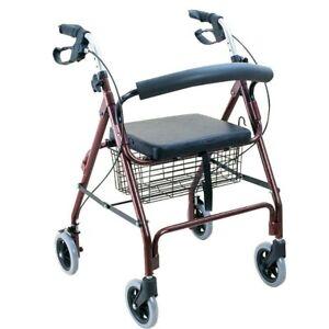 "Bodymed Aluminum Rollator With 6"" Wheels, PVC Soft Seat, Loop Brake, Burgundy"