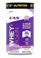 EAS Whey+Casein Protein Powder 6 HR Muscle Building Strawberry 2LB