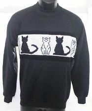 Vintage 1980s Jerzees Sweatshirt + CATS Graphic Sweater Strip Adult Medium Black