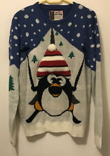 Blue And White Penguin Christmas Jumper Puffy Hat Size L