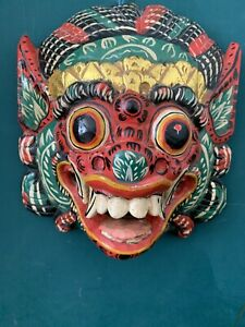 Balinese PATTERNED RAKSASSA MASK FROM BALI INDONESIA Carved Wooden