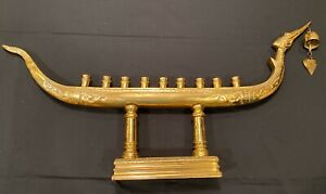 """VINTAGE Large Thai Suphannahong Royal Barge Brass Candle Holder, 9 Candles, 32 """""""